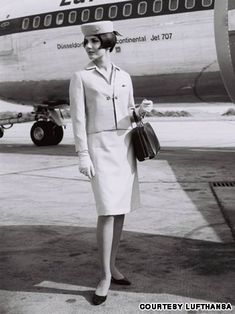 """Lufthansa in the 1960s  German flag-carrier Lufthansa summer uniforms from 1965. """"Pillbox"""" hats, popularized by Jackie Kennedy, became a staple in many flight attendant uniforms."""