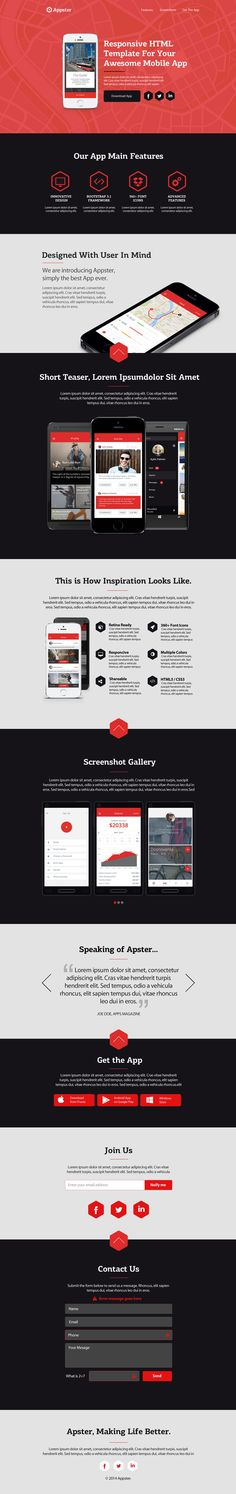 Mobile app landing page template.