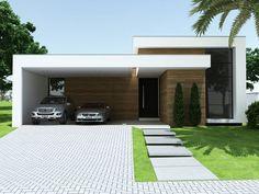 Resultado de imagen para fachadas de casas pequeñas modernas de una planta #casasmodernasdeunaplanta #casasmodernasfachadasde