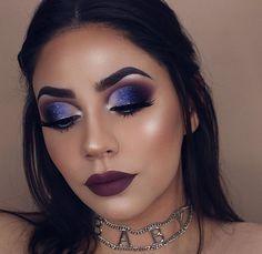 Blue White Black Makeup Look | Dark Lipstick | Highlight and Contour | Heavy Glam | Dramatic Makeup #makeup #glam #darklipstick Pin: @amerishabeauty