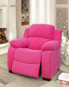Pink Fabric Kids Recliner #Chair #kidschair #reclinerchair #kidsrecliner