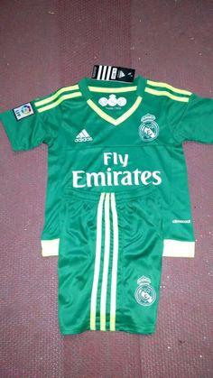 Real Madrid 2015/16 Jersey Youth Green GK Soccer Shirt Kids Football Kits