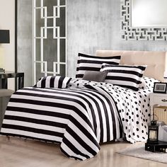 Black and White Bedding Sets For Your Dramatic Bedroom - Home to Z Black White Bedding, Bedroom Black, Black Bedding Sets, Black And White Bedspreads, Black Comforter, Polka Dot Bedding, Striped Bedding, Cotton Bedding, Neutral Bedding