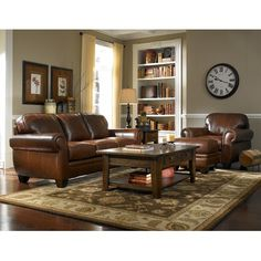 Abbyson Living Signature Italian Leather 3piece Sofa Set by