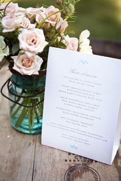 #menu  Photography: Catherine Hall Studios - catherinehall.net Floral Design: Valley Flora - valleyflora.net Event Coordination: Holliday Weddings - hollidayweddings.com  Read More: http://www.stylemepretty.com/2012/07/20/sonoma-wedding-by-catherine-hall-studios/