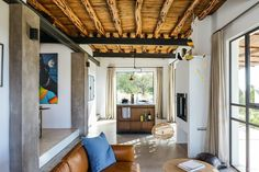 A total transformation from an old abandoned warehouse to a dreamy loft on the island of Ibiza. On a remote mountain field in the rugged north of Ibiza lies New York Loft, Ibiza, Lofts, Open Space Living, Living Spaces, Living Room, Architectural Design Studio, Casa Loft, Turbulence Deco