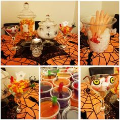 Halloween Decorations, candy and jello shots