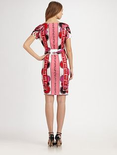 Back of Emilio Pucci dress with Greek Key-inspired pattern.