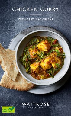 Looking to eat more of your five-a-day? Try this chicken curry that is full of nutritious greens. The sweet mango chutney compliments the curry wonderfully. Tap for the full Waitrose & Partners recipe. Jamaican Recipes, Curry Recipes, Healthy Eating Recipes, Cooking Recipes, Oven Recipes, Indian Food Recipes, Asian Recipes, Waitrose Food, Curry Dishes