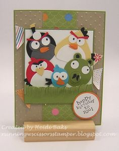 Cute Angry Birds card! At RunningwScissorsStamper: FM62 Sketching with Birds... Angry Birds