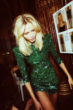 Balmain. Emerald green dress. #celebstylewed #bridal #nuptials
