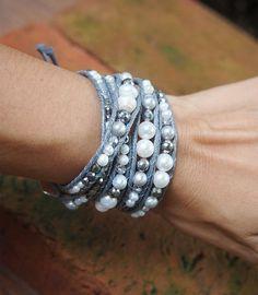 5 times Wrap Bracelet, White mix, Boho bracelet, Bohemian bracelet, Beadwork bracelet D E T A I L S Bracelet Denim, Bracelet Wrap, Cuff Bracelets, Silver Bracelets, Bohemian Bracelets, Boho Jewelry, Jewelry Crafts, Beaded Jewelry, Beaded Bracelets