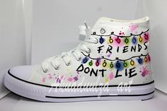 Stranger Things Summer Style Shoe / Friends Don't Lie Personalised Unisex Shoes / Demogorgon Watercolored Theme - To all The Stranger Things Lovers, Unique hand painted canvas shoes! This is my new design for this - Stranger Things Tumblr, Stranger Things Quote, Stranger Things Steve, Stranger Things Aesthetic, Stranger Things Season, Stranger Things Netflix, Stranger Things Clothing, Stranger Things Halloween, Painted Canvas Shoes