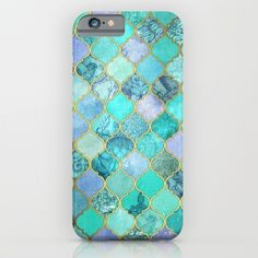 Cool Jade & Icy Mint Decorative Moroccan Tile Pattern iPhone & iPod Case