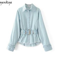 FREE Shipping Worldwide|    Brand-new arriving Fashion Women Vintage Denim Blouse Shirt Light Blue Autumn Long Sleeve Turn-down Collar Drawstring Waist Slim Casual Overshirt now available for sale $US $35.58 with free delivery  you'll discover this excellent item plus far more at our favorite website      Find it today on this website…