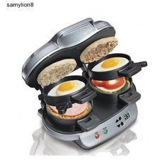 In under 5 minutes with the Hamilton Dual Breakfast Sandwich Maker, you can enjoy a hot, homemade breakfast sandwich. You can simply place the ingredients inside, build the base of your sandwich in the bottom layer, place the egg on the cooking plate and close the lid. Slide the cooking plate out and your sandwich assembles itself. Open the lid and your hot breakfast sandwich is ready to eat. You can enjoy a great meal with Hamilton Dual Breakfast Sandwich Maker.