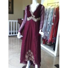 want to turn heads? look gorgeous in this maroon plum outfit - high low gown with antique work