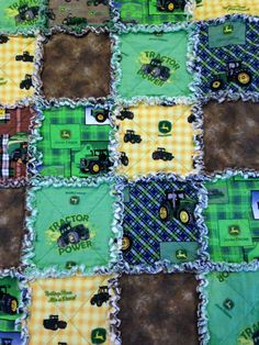 John Deere Rag Quilt. Measures 50X 58 . Perfect size for toddler,baby, or teen. Several Different John Deere prints.  I have used quality fabrics. I