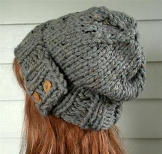 Womens Hat, Knit Slouch beanie Gray tweed, Chunky, beret, winter, ski, urban, boho, vegan, teen. $34.00, via Etsy.