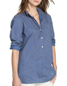 Lauren Ralph Lauren Striped Cotton Tunic Women's Indigo X-Large