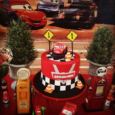 Check out the cool Lightning McQueen cake at this DIsney Cars birthday party! See more parties and share yours at CatchMyParty.com #catchmyparty #partyideas #disneycars #carsparty #carscake #lighteningmcqueencake Disney Cars Party, Disney Cars Birthday, Cars Birthday Parties, 4th Birthday, Bridal Shower Cakes, Baby Shower Cakes, Lightning Mcqueen Cake, Rustic Cake, Party Venues