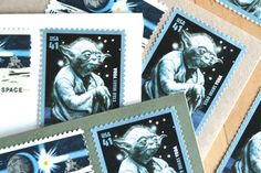Star Wars Party Invitation Yoda Postage Stamps by EdelweissPost