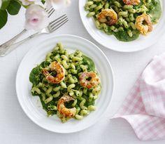 Nem aftensmad: Pasta med spinat og rejer