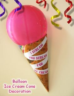 Balloon Ice Cream Cone Decorations Instructions for DIY craft.  Great for Candy Land, Ice Cream or Cupcake Party.  Fun Ideas for kids birthday parties.