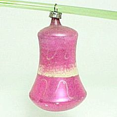 Hand Blown Mercury Glass Bell Christmas Tree Ornament with MICA. Circa 1940s to 1950s Mid Century Holiday Decoration.