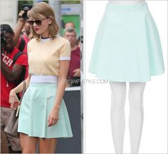 TopShop 'Mint Baby Cord Skater Skirt' - no longer available