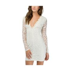 White Deep V Neck Bodycon Lace Dress With Zipper Back DR0150498-2 ($27) ❤ liked on Polyvore featuring dresses, white, zipper back dress, white dress, bodycon dress, long-sleeve lace dress and long sleeve cocktail dress