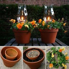 Wedding Rehearsal Table Centerpiece: nesting terra-cotta pots create candlelight in hurricane glass surrounded by florals
