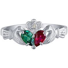 My current right-hand ring. Ruby for July for my husband, Emerald for May for my daughter.