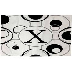 Thumbprintz Circle Variations Monogram Black and White Rug