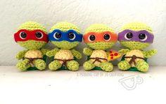 Ninja Turtles free pattern on Ravelry! Sooo cute!