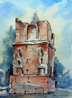 Tower of Scipio (Tarragona). Watercolor And Ink, Tower, Russia, Painting, Blog, Water Colors, Computer Case, Painting Art, Towers