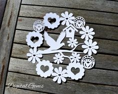 Daisy Heart Design SVG PDF JPG Png Dxf - Papercutting Template to print and cut yourself (Commercial Use) Cut Paper Illustration, Chinese Paper Cutting, Silhouette Cameo Machine, Silhouette Studio, Paper Cut Design, Svg Files For Cricut, Print And Cut, Craft Fairs, Cricut Design