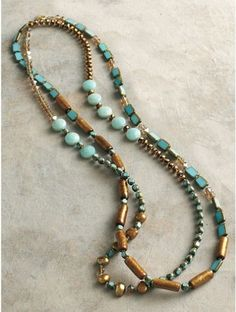 Opal, turquoise, and aquamarine necklace