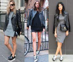 jaqueta de couro com tênis entre as tendências da moda inverno 2017