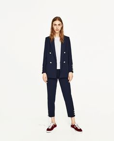 ZARA - WOMAN - DOUBLE BREASTED BLAZER WITH PEARLY BUTTONS