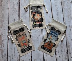 Fall Autumn Linen Wine Tote Sack ~ Buffalo Black Plaid Beverage Bottle Holder ~ Faux Burlap Wine Sack with Cord Tie ~ Hostess Party Gift Wine Tote Bag, Honey Bee Hives, Halloween Table Decorations, Hanging Signs, Bottle Holders, Wine Gifts, Cute Halloween, Candy Corn, Black Plaid
