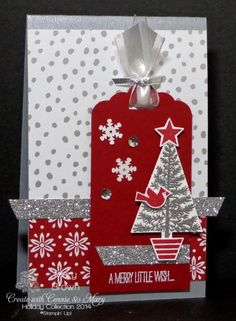 SU! Festival of Trees and Tree Punch; Brushed Silver card base; Trim the Tree DSP (Cherry Cobbler print) and All is Calm DSP (silver/white print); Cherry Cobbler tag made with Scallop Tag Topper punch; silver and white embossing powder; Cherry Cobbler ink - Mary Brown