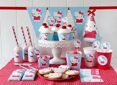 Postreadicción galletas decoradas, cupcakes y pops: Imprimible gratis: kit de fiesta de Hello Kitty