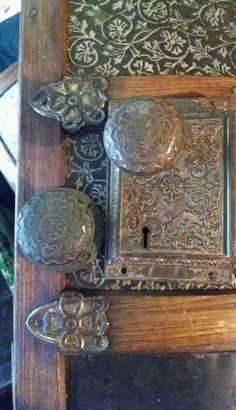 Rare Antique Vintage Arts /& Crafts Complete Door Knob /& Lock Set Beautiful