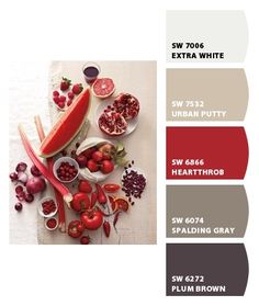 My kitchen colors. Dining room with red accent wall? Paint colors from Chip It! by Sherwin-Williams (Spalding gray) Living Room Red, Living Room Paint, Spalding Gray, House Color Palettes, Warm Color Palettes, Paint Palettes, Red Colour Palette, Plum Color, Accent Wall Colors