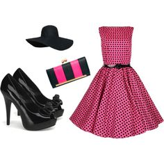 Pink Black Polka Dot dress with black patent peep toes