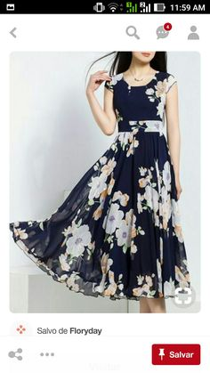 Chiffon Floral Sleeveless Mid-Calf Vintage Dresses (Lovely floral and swing in the dress) Fashion Dresses, Pretty Dresses, Outfits, Dresses, Vintage Dresses, Midi Dress Sleeveless, Fashion Outfits, Designer Dresses, Fashion