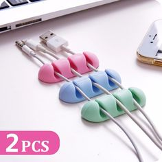 """Bakeeyâ""""¢ 2PCS TPU Cable Clips Cable Holder Desktop Cable Organizer Cord Management Headphone Holder"""
