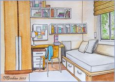 Room_ naive perspective_sketch interier, watercolor paintings_Viktoriya Crichton_Ukraine