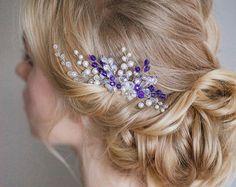 Bridal Hair Comb pink Crystal Comb Wedding by PrettyYouWedding